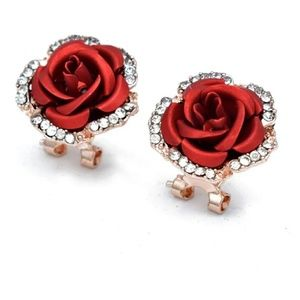 🌹 Elegant Red Rose Crystal Rhinestone Earrings